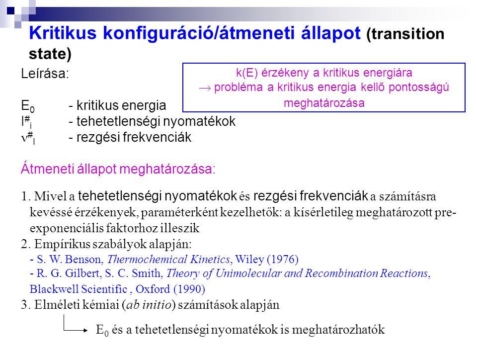 Kritikus konfiguráció/átmeneti állapot (transition state)