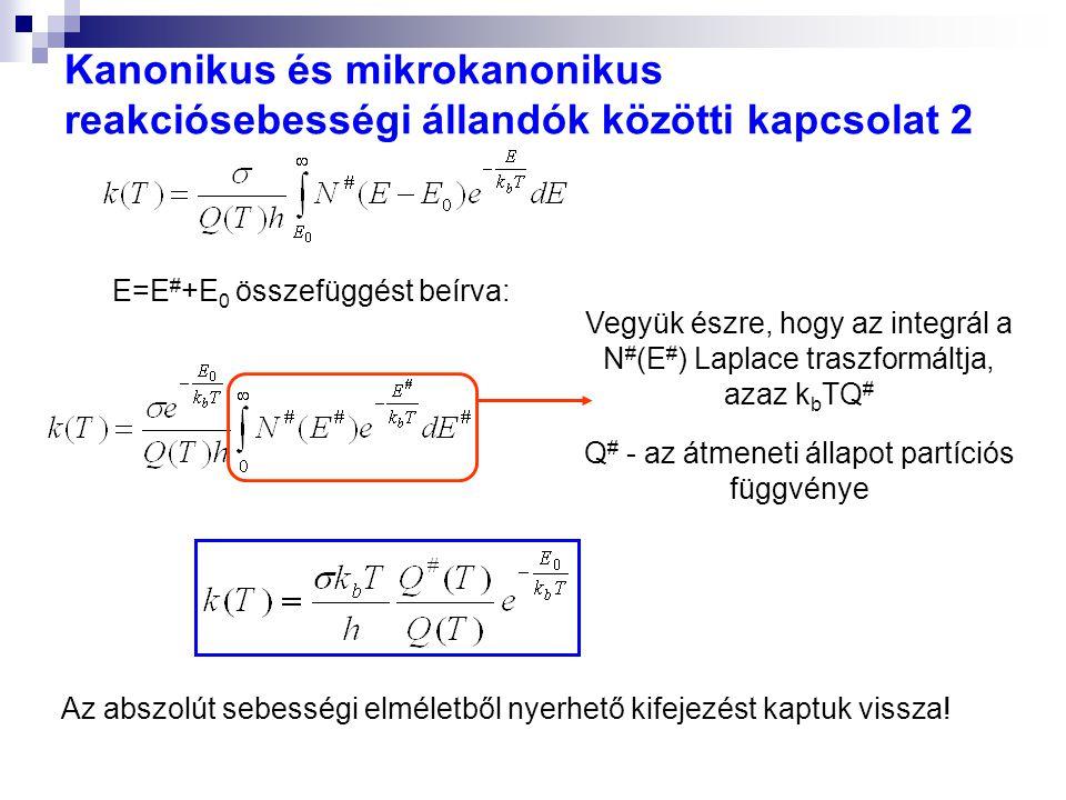 Kanonikus és mikrokanonikus reakciósebességi állandók közötti kapcsolat 2