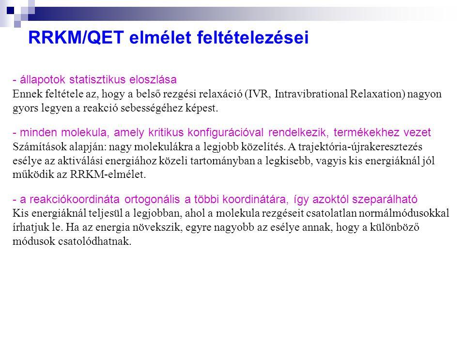 RRKM/QET elmélet feltételezései