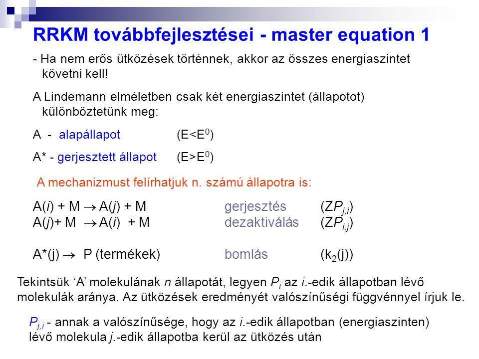 RRKM továbbfejlesztései - master equation 1