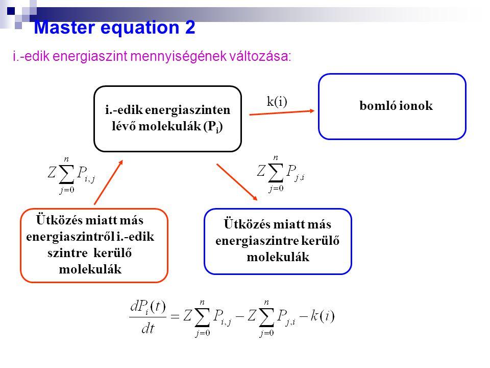 Master equation 2 i.-edik energiaszint mennyiségének változása: k(i)