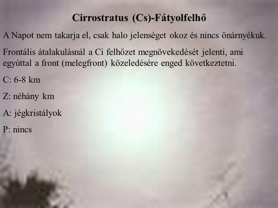 Cirrostratus (Cs)-Fátyolfelhő