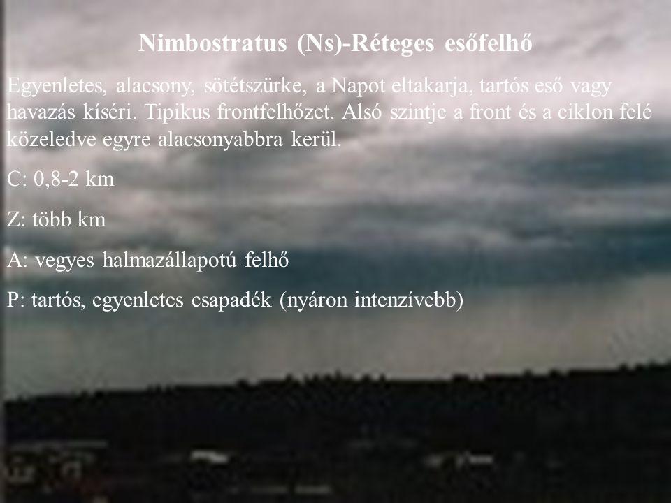 Nimbostratus (Ns)-Réteges esőfelhő
