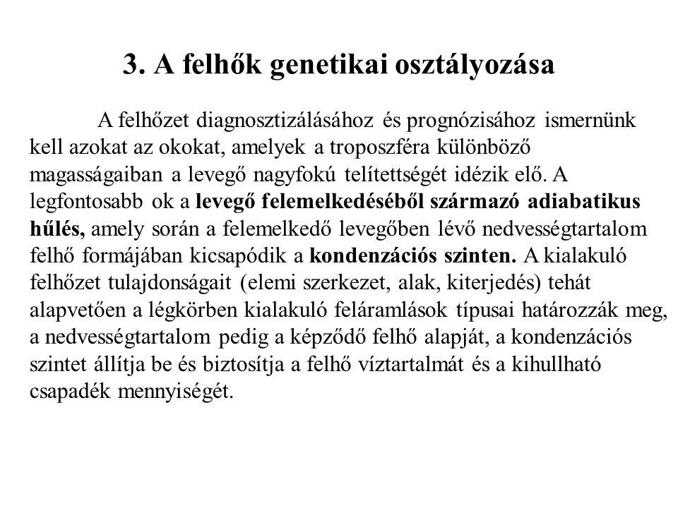 3. A felhők genetikai osztályozása
