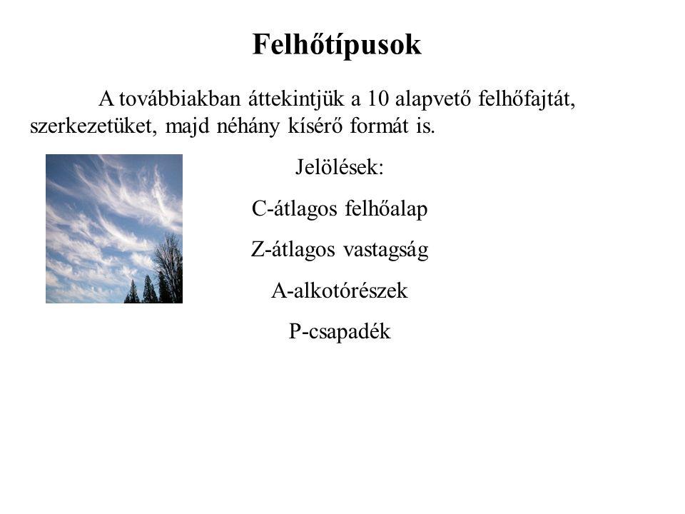 Felhőtípusok A továbbiakban áttekintjük a 10 alapvető felhőfajtát, szerkezetüket, majd néhány kísérő formát is.