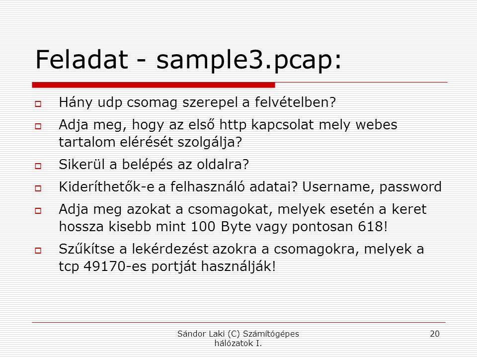 Sándor Laki (C) Számítógépes hálózatok I.