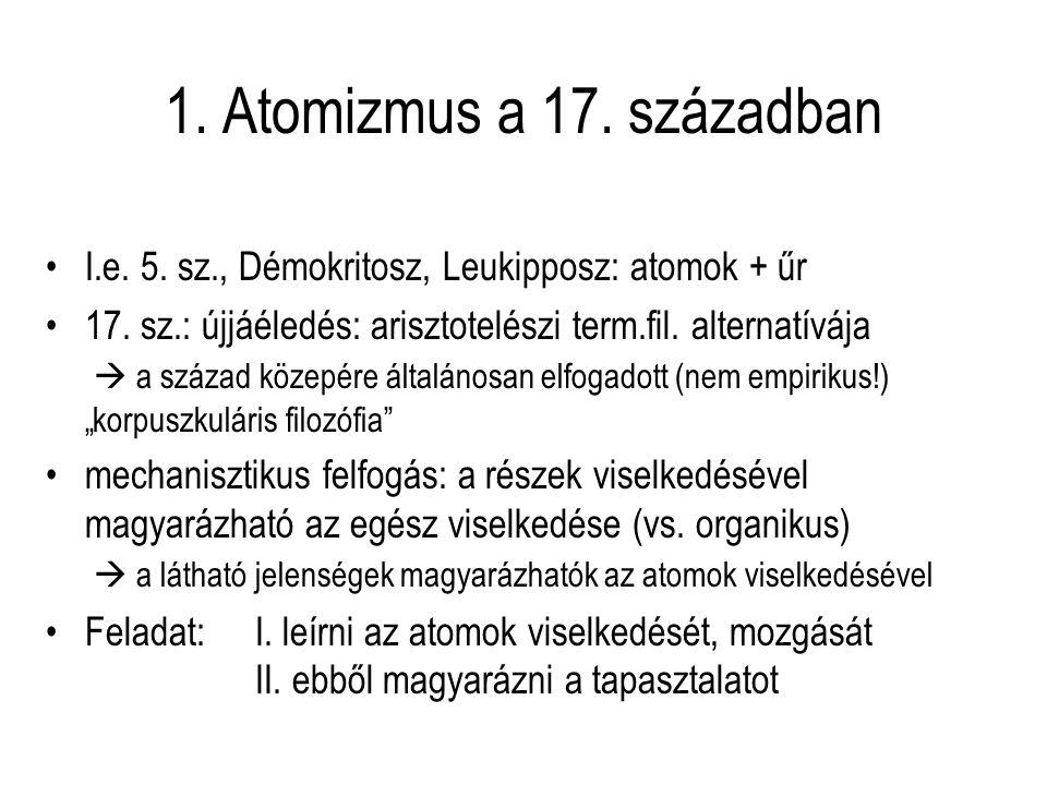 1. Atomizmus a 17. században I.e. 5. sz., Démokritosz, Leukipposz: atomok + űr.