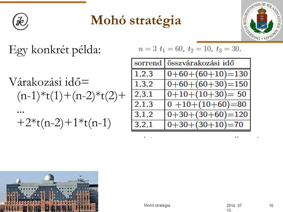INFOÉRA 2006 2006.11.18. Mohó stratégia. Egy konkrét példa: Várakozási idő= (n-1)*t(1)+(n-2)*t(2)+ ... +2*t(n-2)+1*t(n-1)