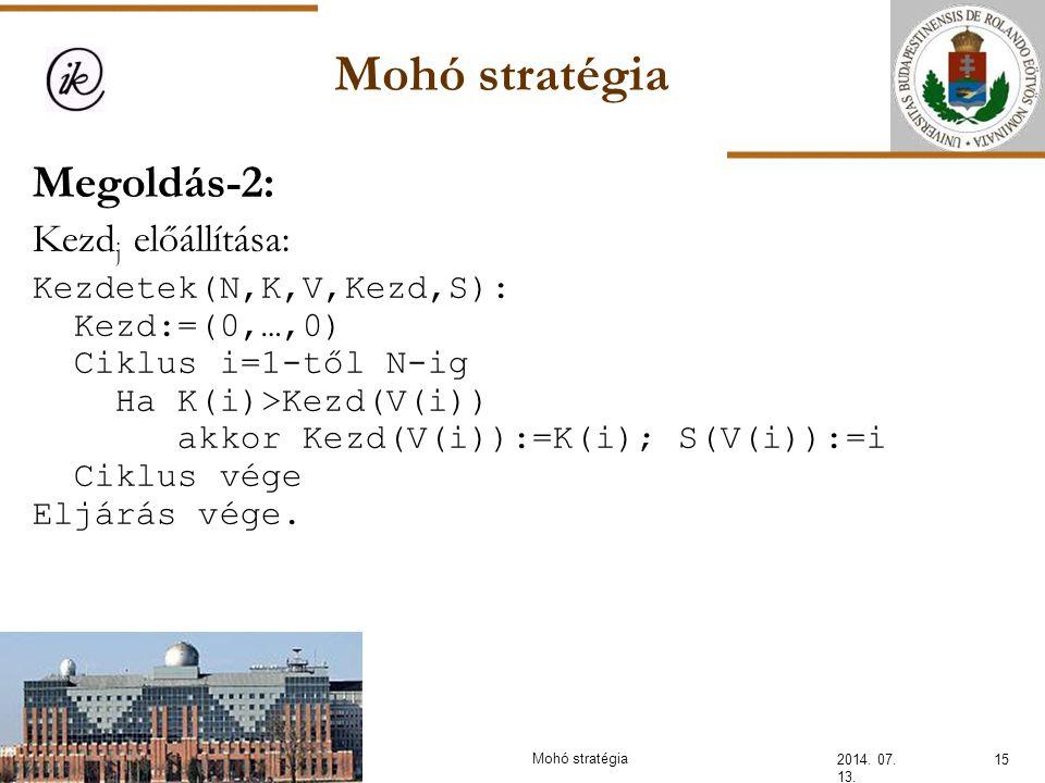 Mohó stratégia Megoldás-2: Kezdj előállítása: Kezdetek(N,K,V,Kezd,S):