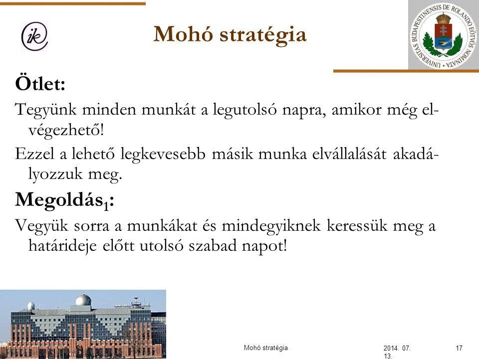 Mohó stratégia Ötlet: Megoldás1: