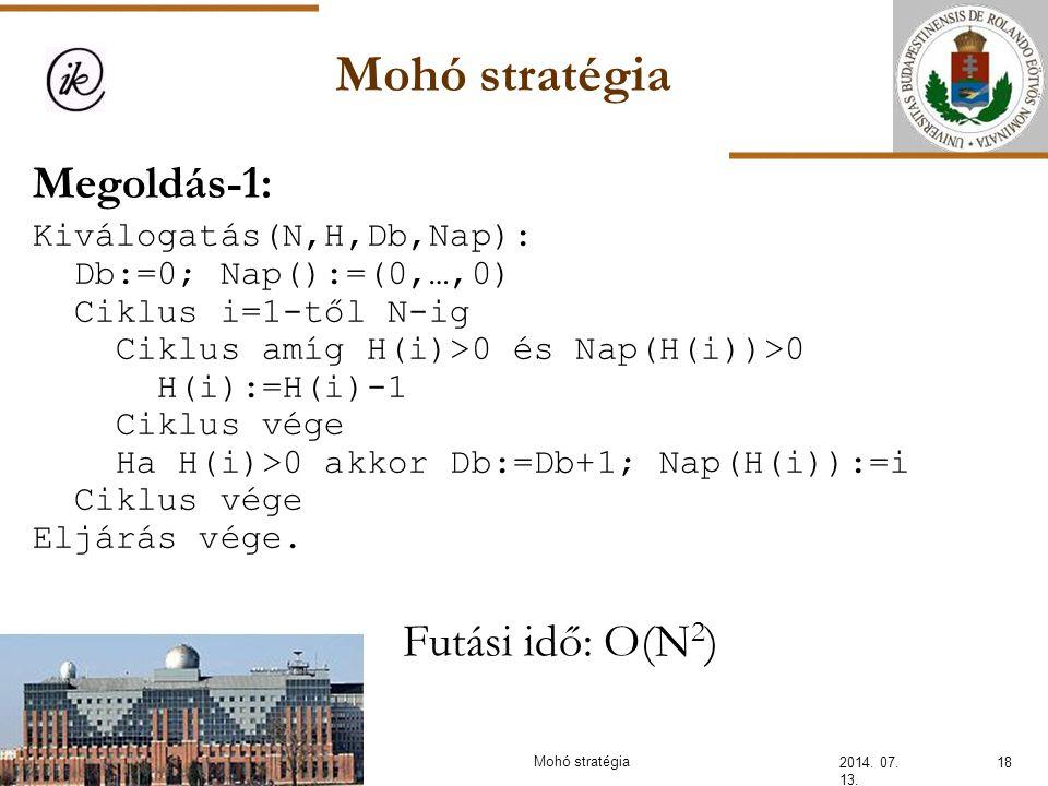 Mohó stratégia Megoldás-1: Futási idő: O(N2) Kiválogatás(N,H,Db,Nap):