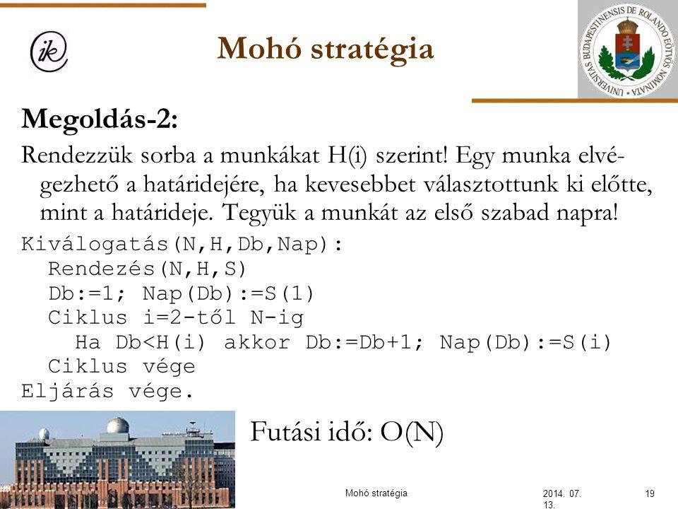 Mohó stratégia Megoldás-2: Futási idő: O(N)