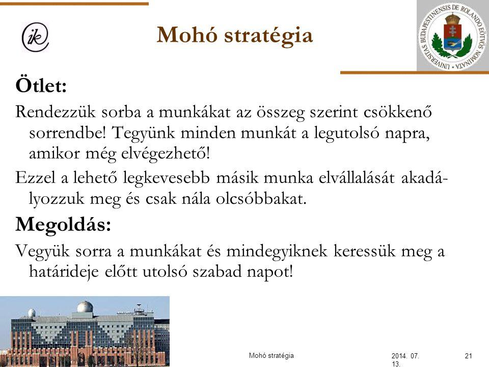 Mohó stratégia Ötlet: Megoldás: