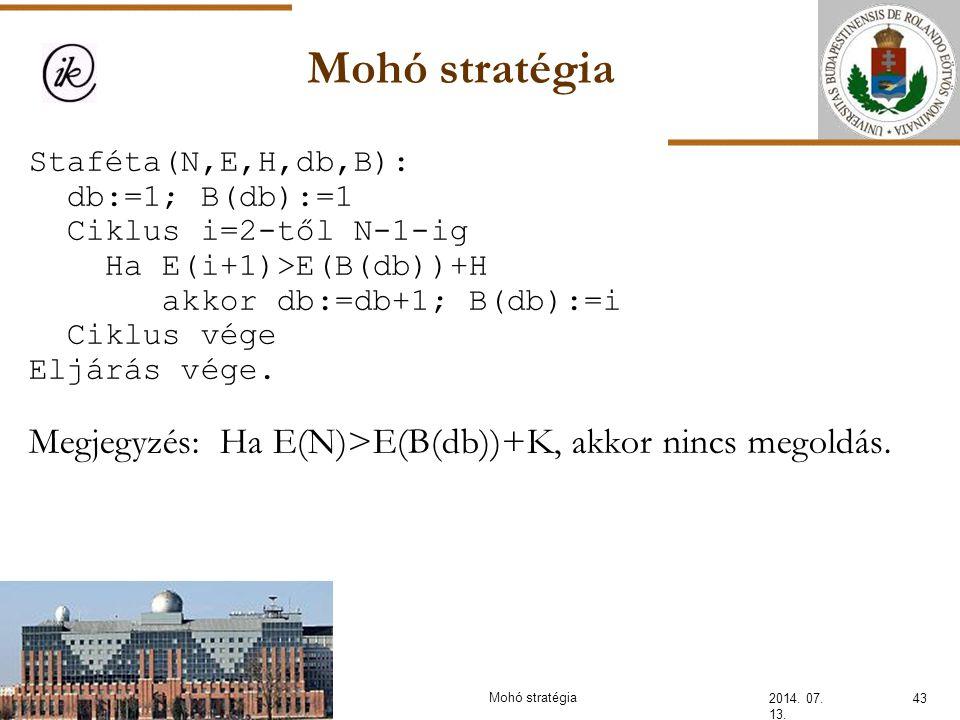 INFOÉRA 2006 2006.11.18. Mohó stratégia. Staféta(N,E,H,db,B): db:=1; B(db):=1. Ciklus i=2-től N-1-ig.