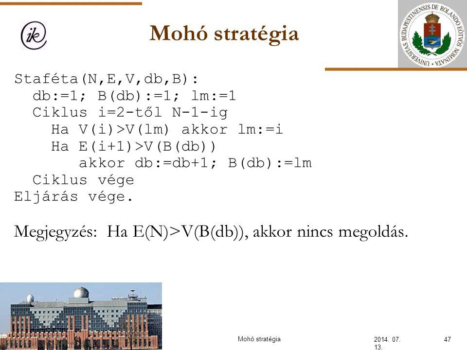 Mohó stratégia Megjegyzés: Ha E(N)>V(B(db)), akkor nincs megoldás.