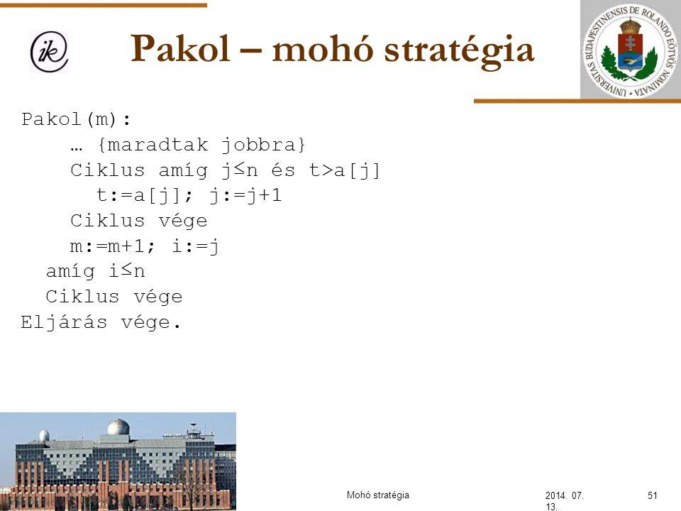 Pakol – mohó stratégia Pakol(m): … {maradtak jobbra}