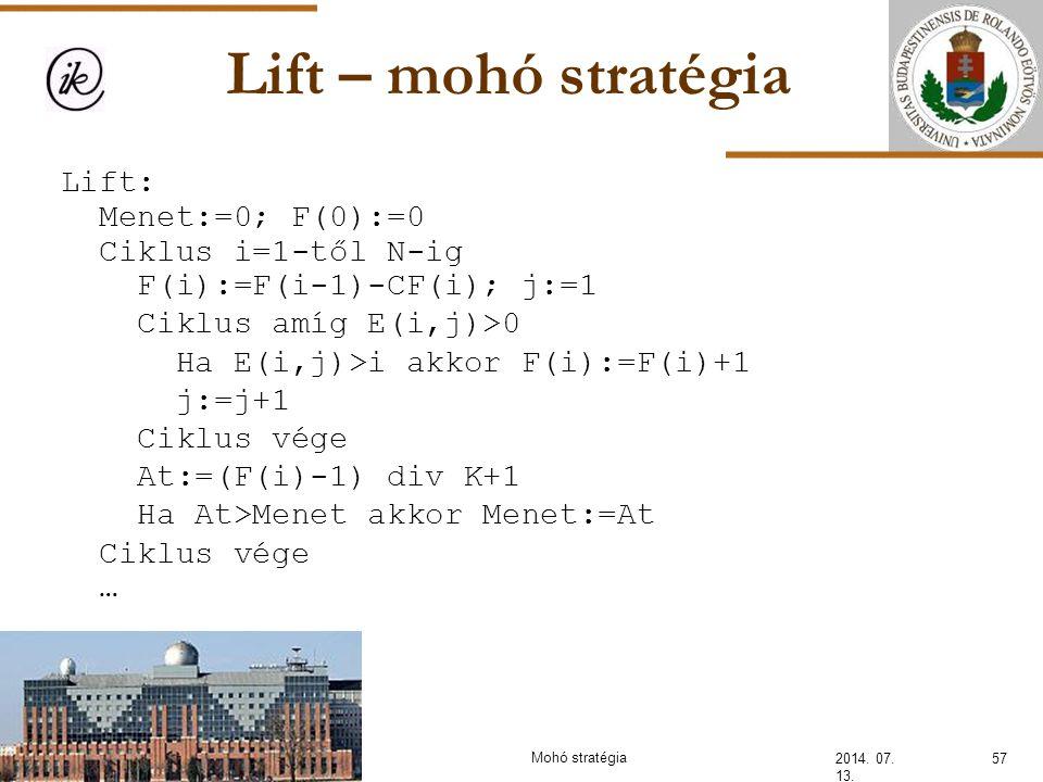 INFOÉRA 2010 2006.11.18. Lift – mohó stratégia. Lift: Menet:=0; F(0):=0 Ciklus i=1-től N-ig F(i):=F(i-1)-CF(i); j:=1.