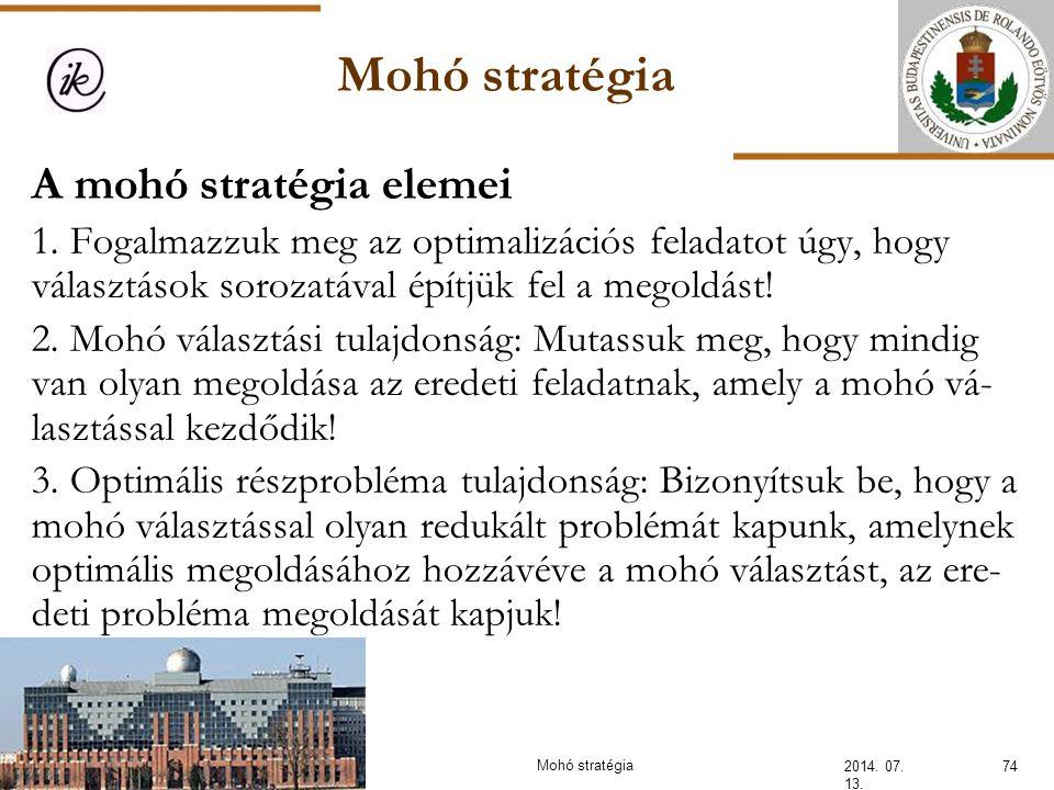 Mohó stratégia A mohó stratégia elemei