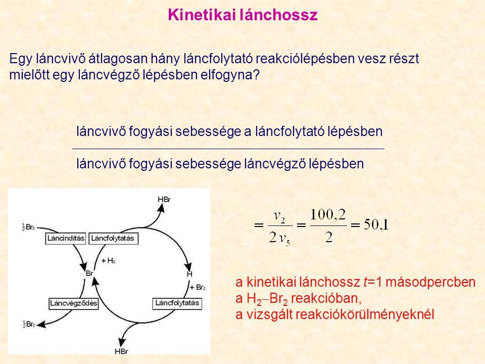 Kinetikai lánchossz Egy láncvivő átlagosan hány láncfolytató reakciólépésben vesz részt. mielőtt egy láncvégző lépésben elfogyna
