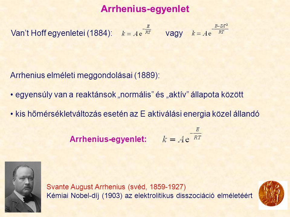 Arrhenius-egyenlet Van't Hoff egyenletei (1884): vagy