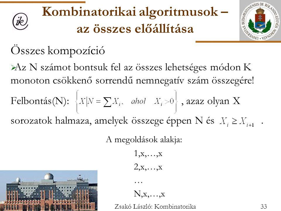 Kombinatorikai algoritmusok – az összes előállítása