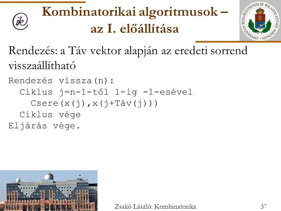 Kombinatorikai algoritmusok – az I. előállítása