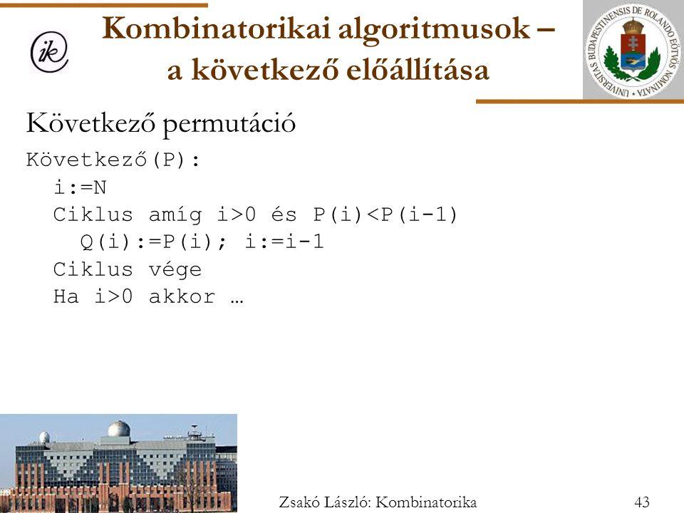 Kombinatorikai algoritmusok – a következő előállítása