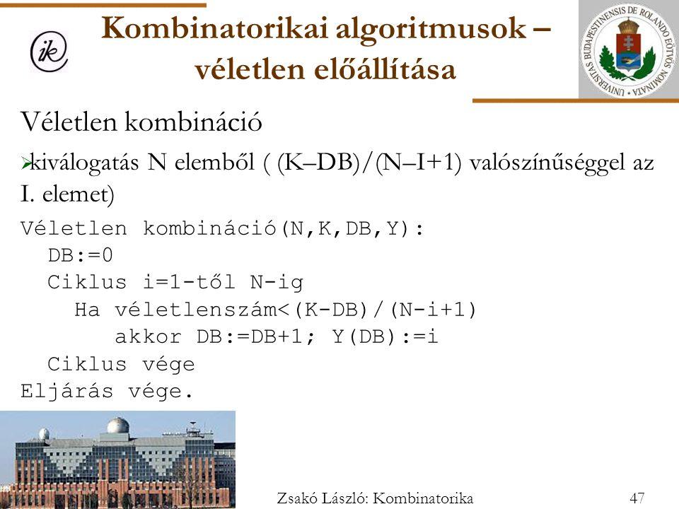 Kombinatorikai algoritmusok – véletlen előállítása