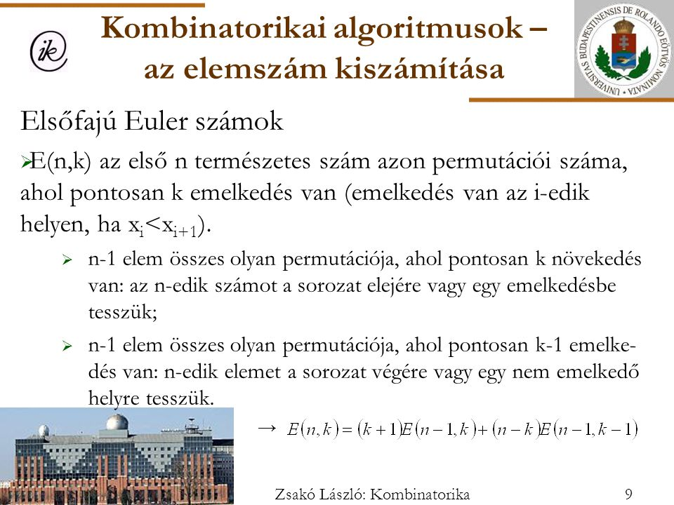 Kombinatorikai algoritmusok – az elemszám kiszámítása
