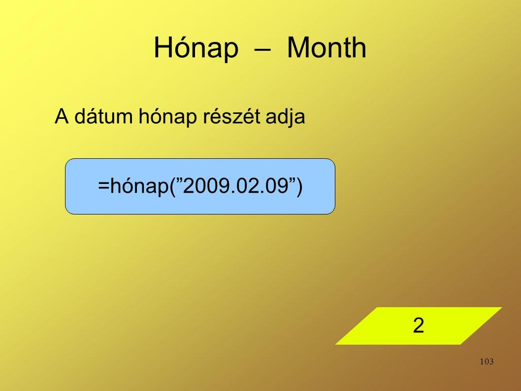A dátum hónap részét adja