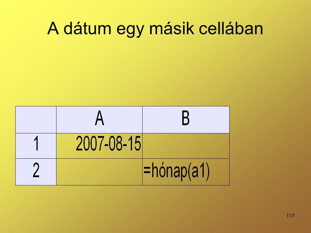 A dátum egy másik cellában