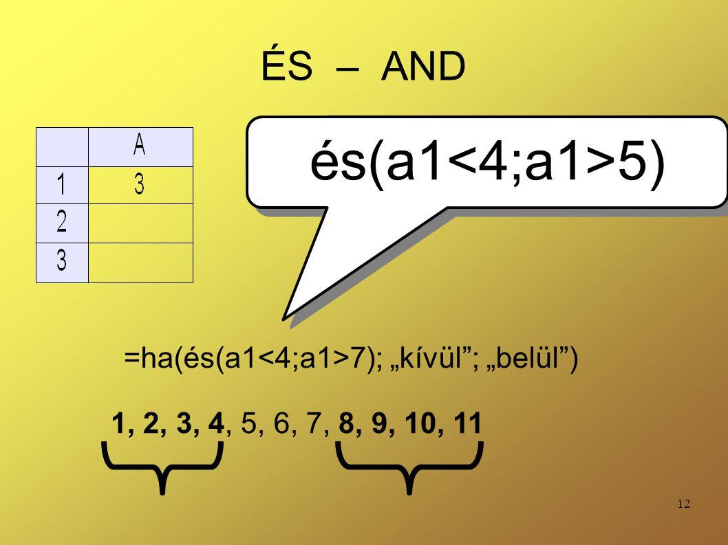 és(a1<4;a1>5) ÉS – AND