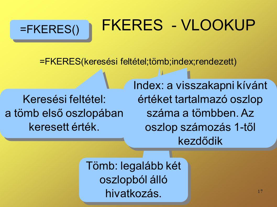 =FKERES(keresési feltétel;tömb;index;rendezett)