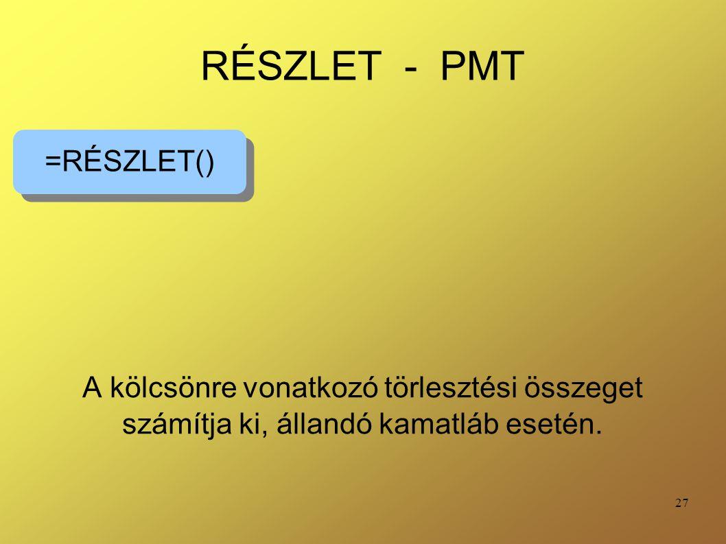 RÉSZLET - PMT =RÉSZLET()