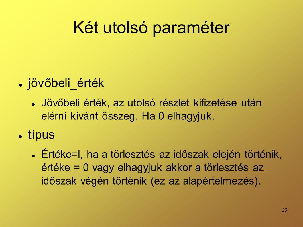 Két utolsó paraméter jövőbeli_érték típus
