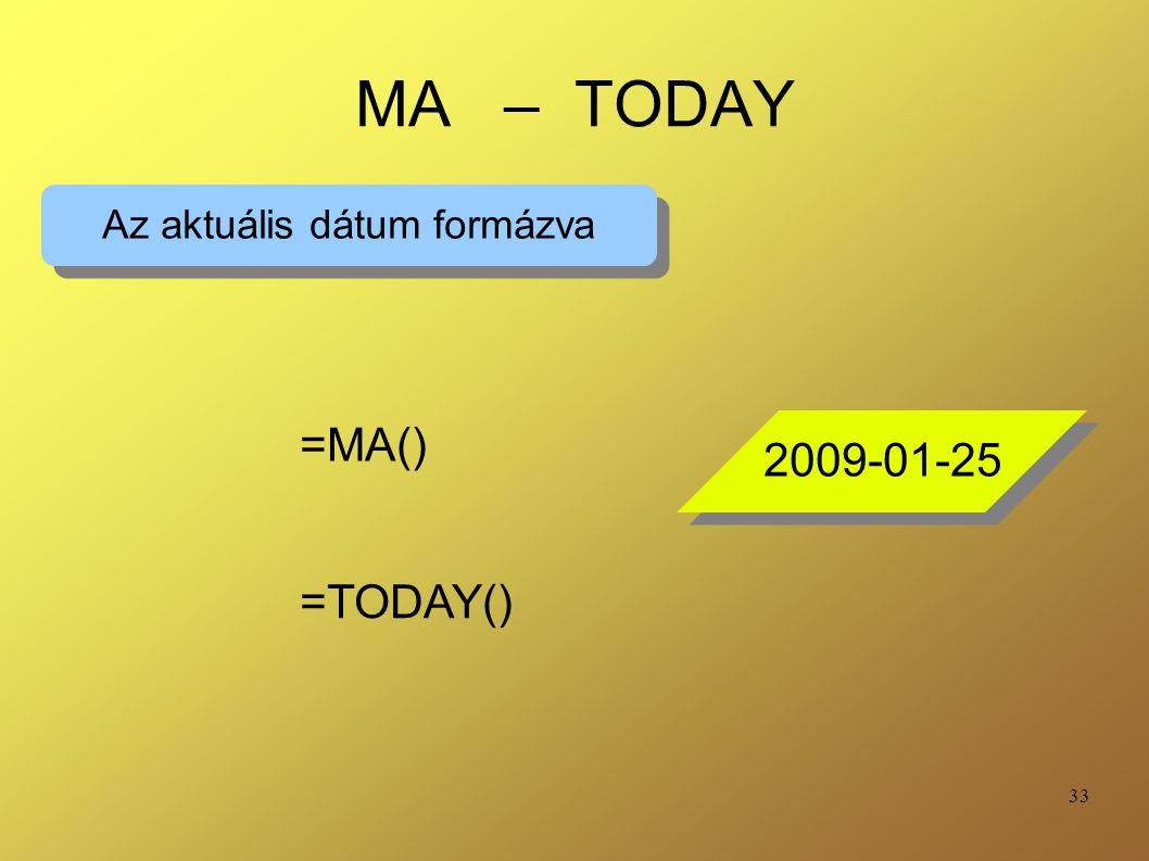 Az aktuális dátum formázva