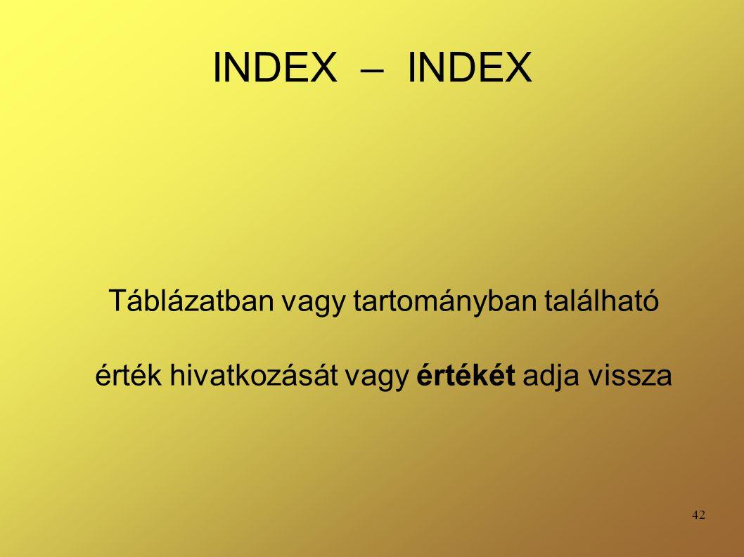 INDEX – INDEX Táblázatban vagy tartományban található