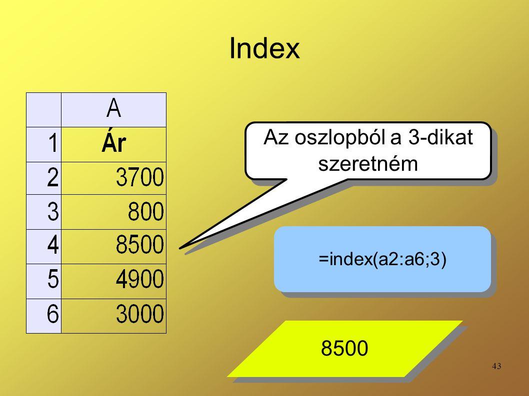 Index Az oszlopból a 3-dikat szeretném =index(a2:a6;3) 8500