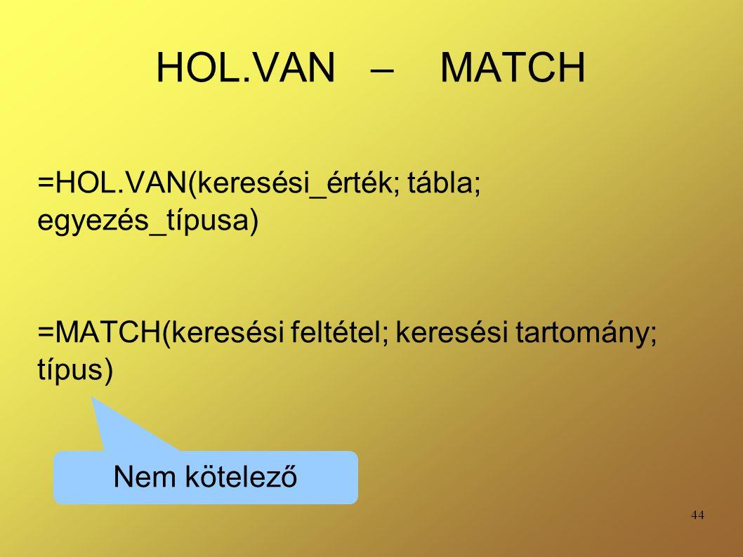 HOL.VAN – MATCH =HOL.VAN(keresési_érték; tábla; egyezés_típusa)