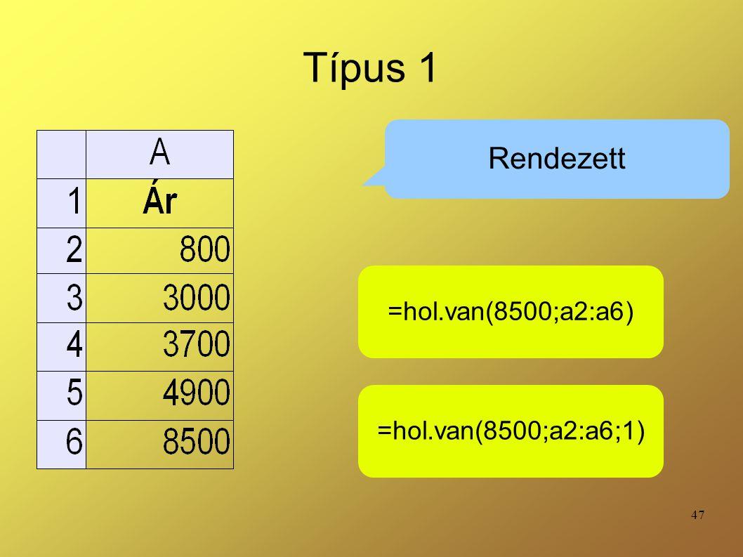 Típus 1 Rendezett =hol.van(8500;a2:a6) =hol.van(8500;a2:a6;1)