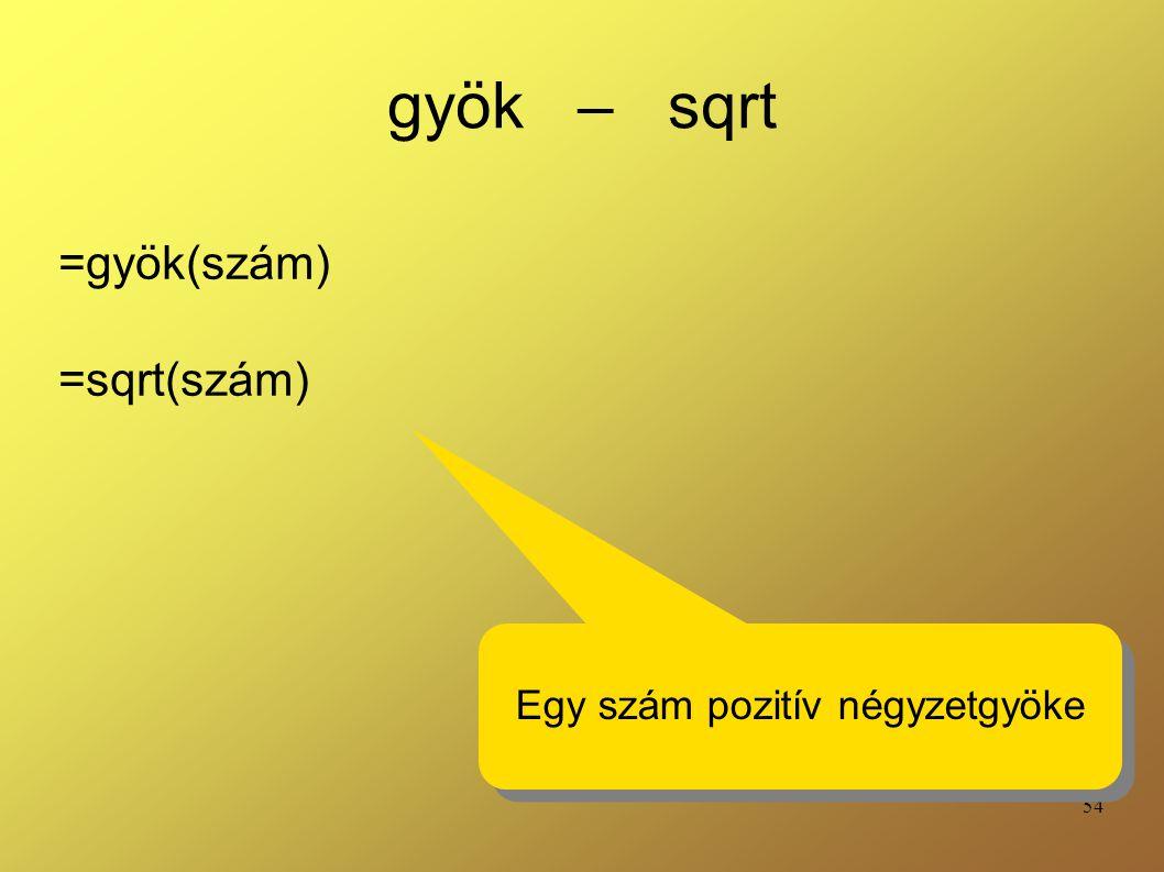 =gyök(szám) =sqrt(szám)