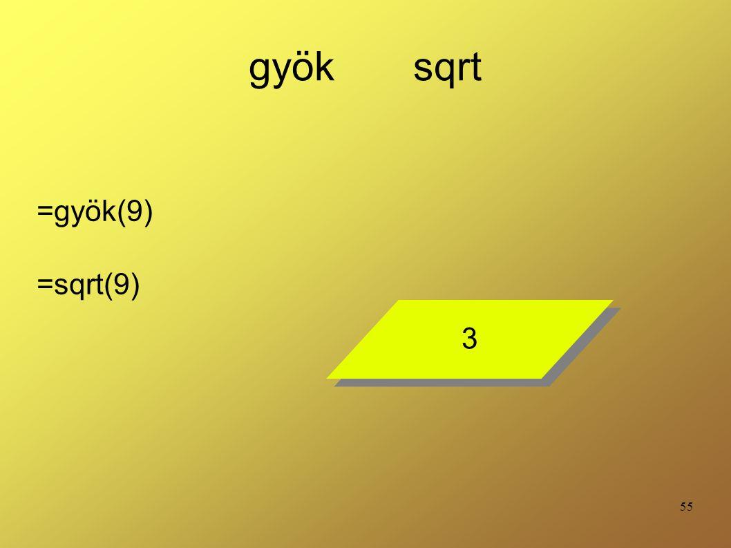 gyök sqrt =gyök(9) =sqrt(9) 3