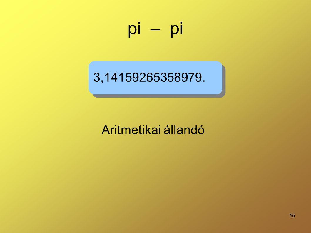 pi – pi 3,14159265358979. Aritmetikai állandó