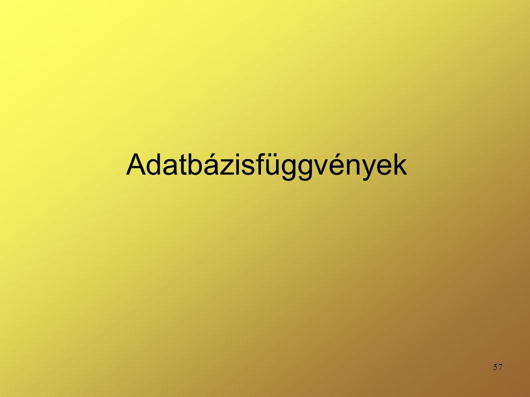 Adatbázisfüggvények