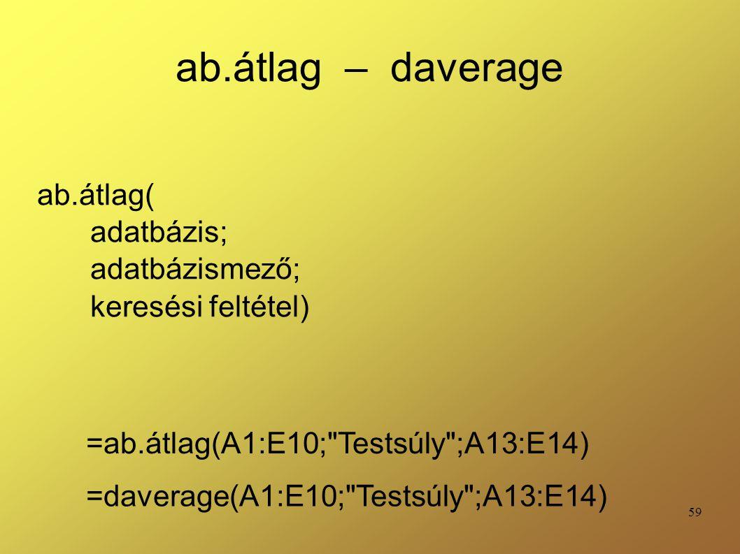 ab.átlag( adatbázis; adatbázismező; keresési feltétel)
