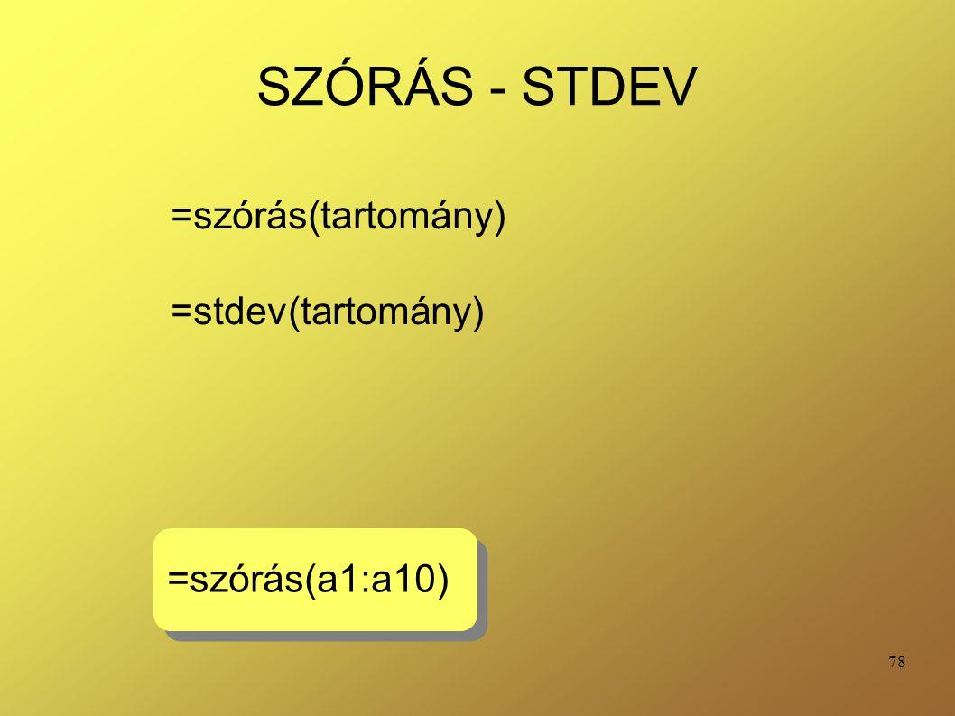 =szórás(tartomány) =stdev(tartomány)