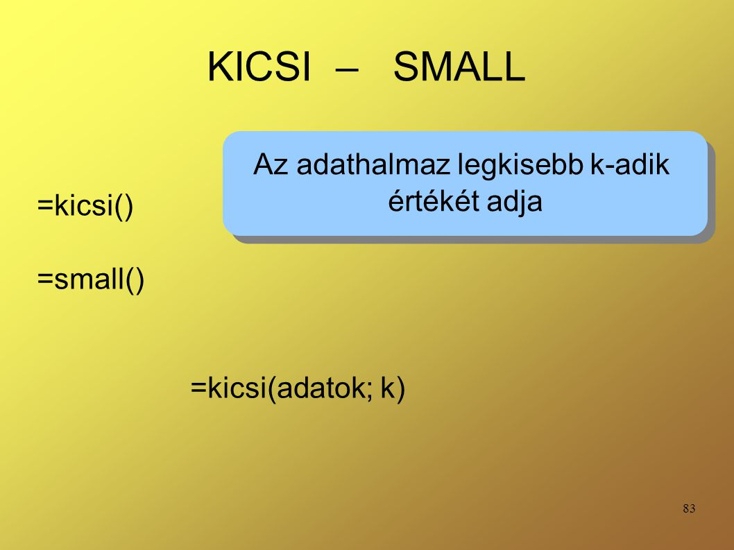 Az adathalmaz legkisebb k-adik