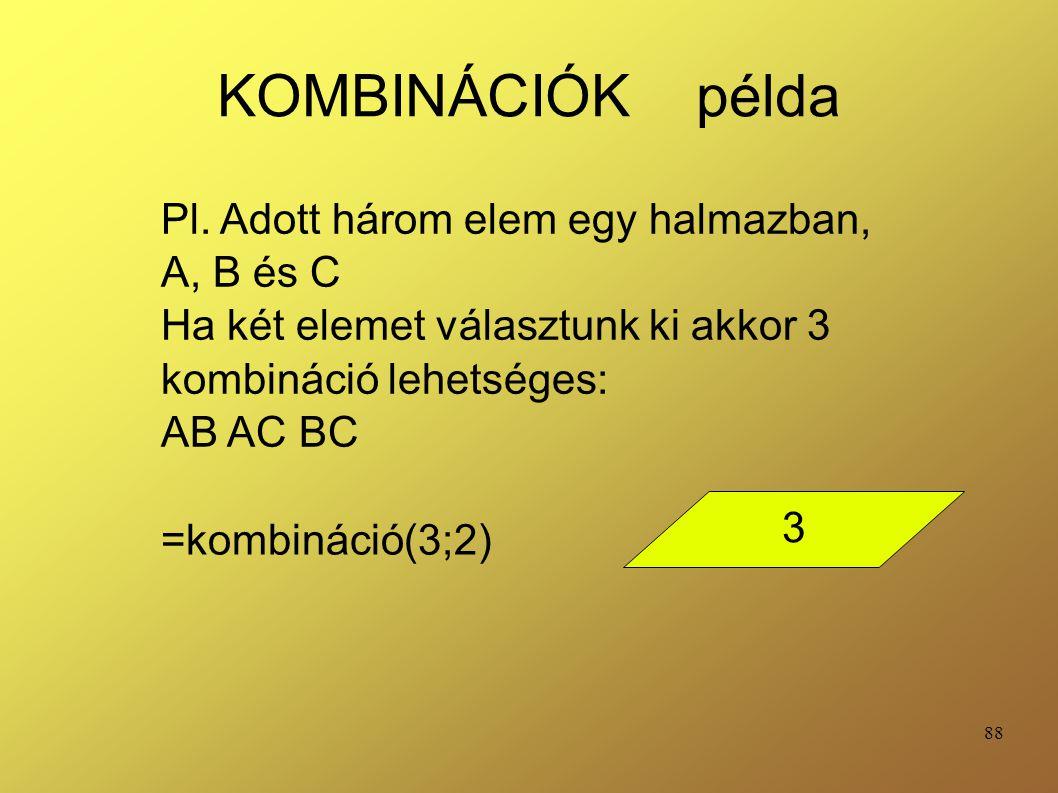 KOMBINÁCIÓK példa Pl. Adott három elem egy halmazban, A, B és C