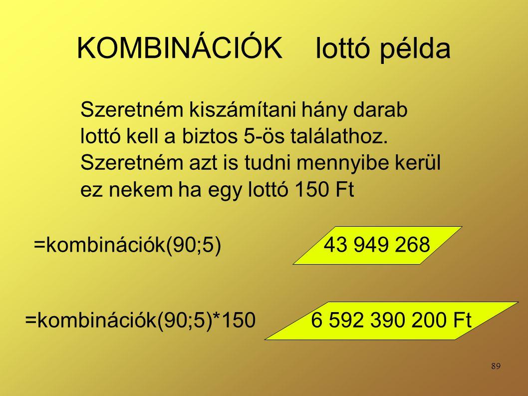 KOMBINÁCIÓK lottó példa