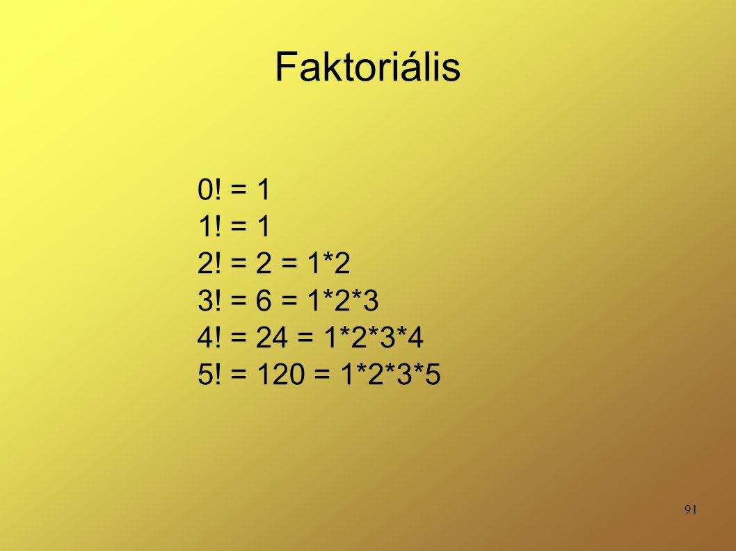 Faktoriális 0! = 1 1! = 1 2! = 2 = 1*2 3! = 6 = 1*2*3